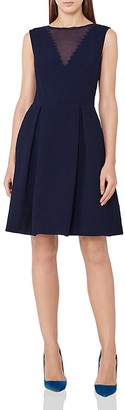 REISS Marlowe Textured Fit-and-Flare Dress $360 thestylecure.com