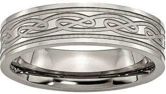 Celtic Primal Steel Titanium Flat Laser Etched Knot 6mm Polished Band
