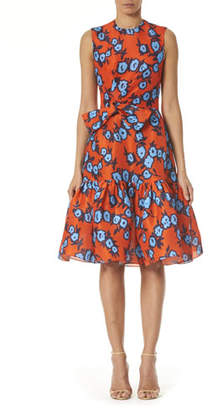 Carolina Herrera Floral Print Bowed-Waist Silk Dress