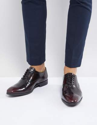 Asos Design Oxford Brogue Shoes In Burgundy Leather