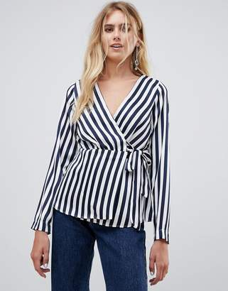 Pieces Disha stripe wrap blouse