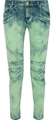 Pierre Balmain Moto-Style Distressed Bleached Low-Rise Slim-Leg Jeans