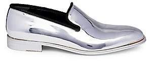 Alexander McQueen Men's Platinum Metallic Slip-On Leather Loafers