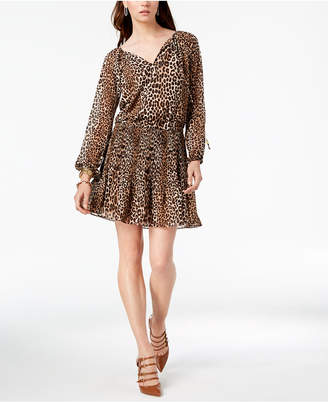 Michael Kors Leopard-Print Pleated Dress, In Regular & Petite Sizes