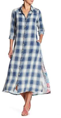 ARATTA The Garden of Sin Plaid & Floral Applique Dress