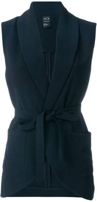 Armani Exchange belted sleeveless jacket