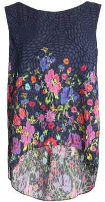 Oscar de la Renta Floral-Printed Embosses Woven Top