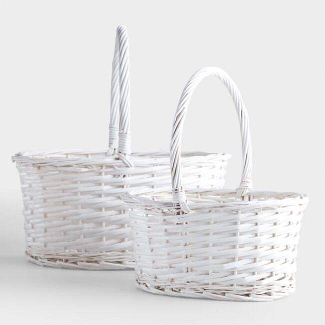White Oval Isabella Baskets
