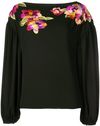 Josie Natori embroidered flower blouse