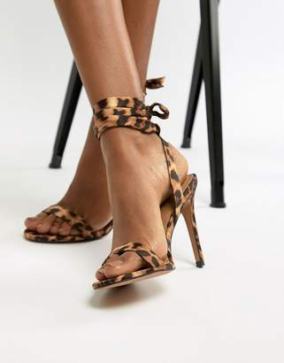 Barely There Asos Design ASOS DESIGN Hatty heeled sandals in leopard print