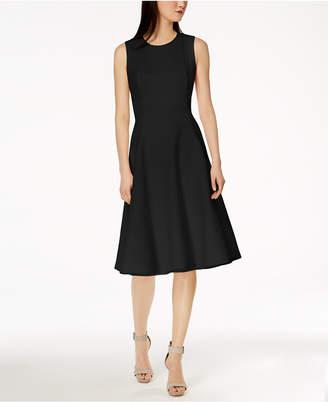 Calvin Klein Scuba Midi Fit & Flare Dress