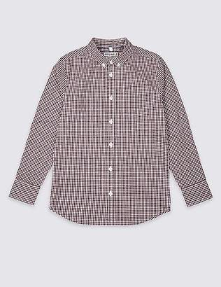 Marks and Spencer Pure Cotton Micro Gingham Shirt (3-16 Years)