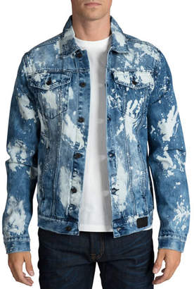 PRPS Men's Graphic-Logo Bleached Denim Jacket