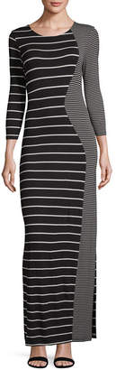 Spense 3/4 Sleeve Stripe Wrap Dress