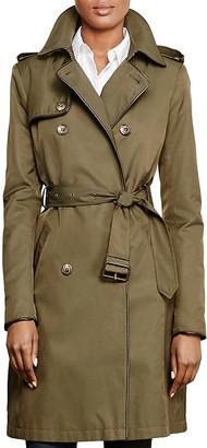Lauren Ralph Lauren Leather-Trim Trench Coat $240 thestylecure.com