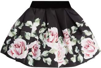 MonnaLisa Rose Print Skirt