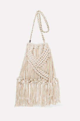 Nannacay Net Sustain Lucy Fringed Crocheted Cotton Shoulder Bag - Cream