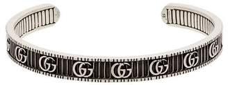 Gucci metallic Marmont silver open cuff bracelet