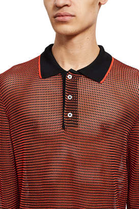 Opening Ceremony Open Knit Long-Sleeve Polo