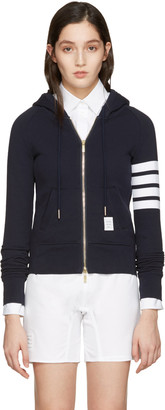 Thom Browne Navy Classic Four Bar Hoodie $690 thestylecure.com