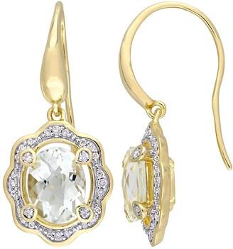 Stella Grace Gold Tone Sterling Silver 1/5 Carat T.W. Diamond & Amethyst Drop Earrings