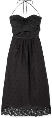 Zimmermann Iris Cutout Broderie Anglaise Linen Dress - Black