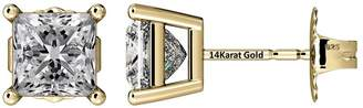 Nana Princess Cut Sterling Silver & Surgical Stainless Steel CZ Stud Earrings - Yellow Gold Plated - 5mm-1.50cttw