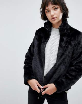 B.young Faux Fur Funnel Neck Jacket