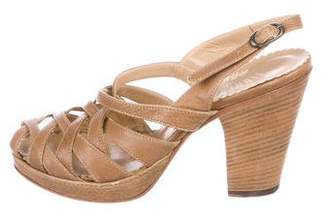 Fiorentini+Baker Leather Peep-Toe Sandals
