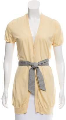 Brunello Cucinelli Belted Short Sleeve Cardigan
