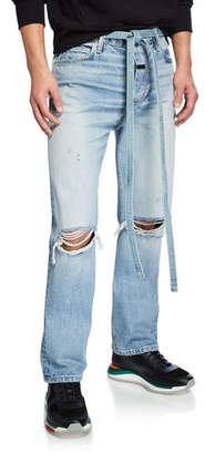 Fear Of God Men's Light-Wash Distressed Jeans with Ripped Knees