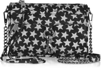 Rebecca Minkoff Black and Silver Stars Mini MAC Clutch/Shoudler Bag