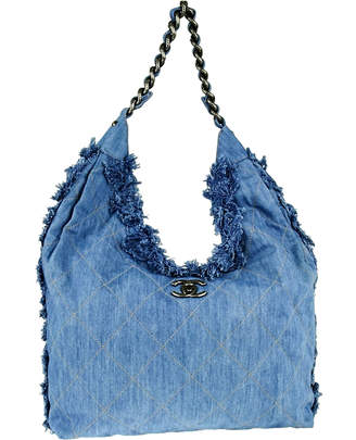 Chanel Chain Hobo Diamond Quilted Light Blue