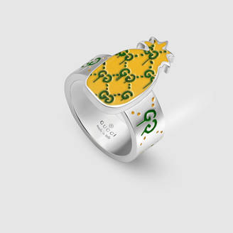 gucci guccighost pineapple ring in silver and enamel