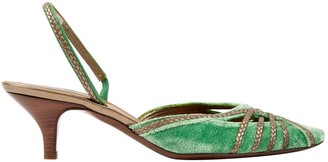 Bottega Veneta Green Velvet Heels