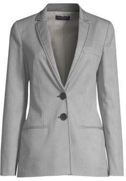 Piazza Sempione Women's Striped Two-Button Blazer Jacket - White Black - Size 38 (2)