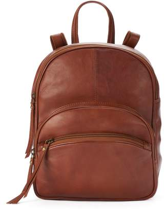 2df1c0921ff9 R&R Leather Triple Zipper Small Leather Backpack