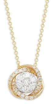 Effy 14K White Gold, Yellow Gold & Diamond Pendant Necklace