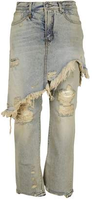 R 13 Overlay Distressed Jeans