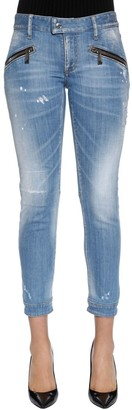 DSQUARED2 Washed Cotton Denim Biker Jeans
