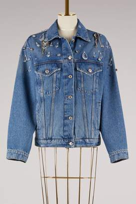 MSGM Embroidered Denim Stone Washed Jacket