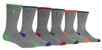 Polo Ralph Lauren Mens 6 Pack Tipped Sport Heel Toe Crew Socks