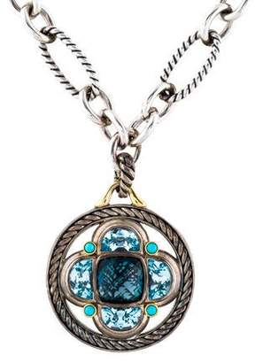 David Yurman Topaz & Turquoise Renaissance Pendant & Figaro Chain Necklace