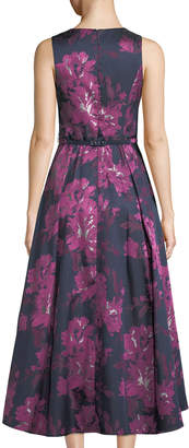 Eliza J Belted Floral-Jacquard High-Low Ball Gown
