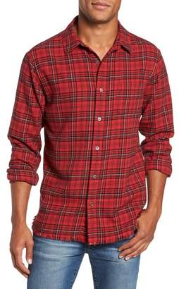 Frame Frayed Hem Plaid Flannel Sport Shirt
