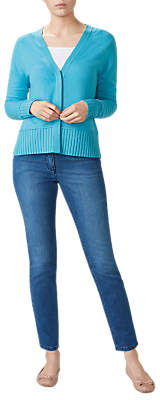 Pure Collection Ribbed Trim V-Neck Cardigan, Soft Turquoise