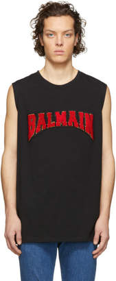 Balmain Black Cotton Logo Sleeveless T-Shirt