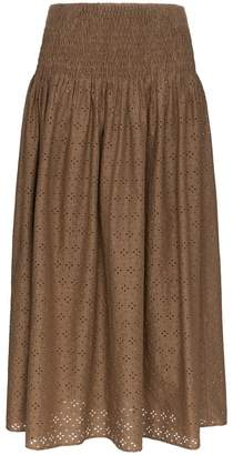 Marysia Swim Abacos embroidered smocked cotton skirt