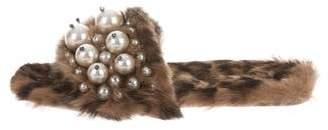 Miu Miu Fur Faux Pearl Embellished Sandals w/ Tags