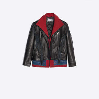 Balenciaga Bull leather jacket with fringes and braided trims